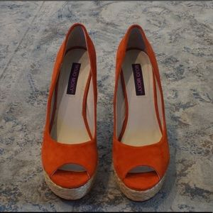 Mojo Moxy orange espadrille heels